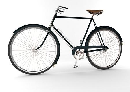 3d dark green bicycle on white blackground