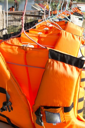 life jacket on clothes line photo