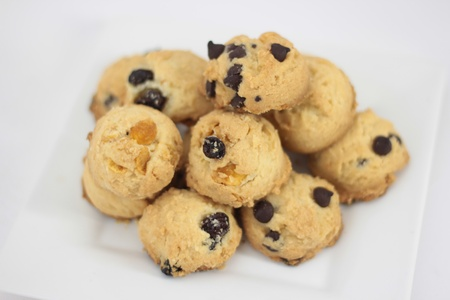 Cookies mixed with raisins,conflakes,macadamias and chocolate chip