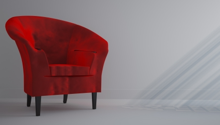 Red chair in the white room photo