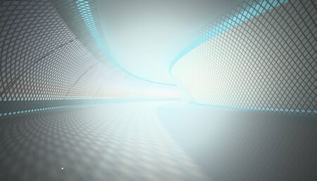 Abstract tunnel with blue light photo