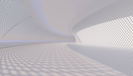 Futuristic white hall with blue light photo