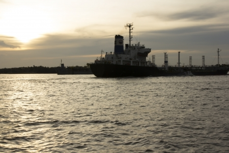 Big merchant marine in ocean photo