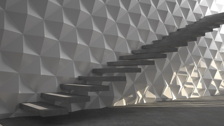 Abstract stairs with white wall; interior photo