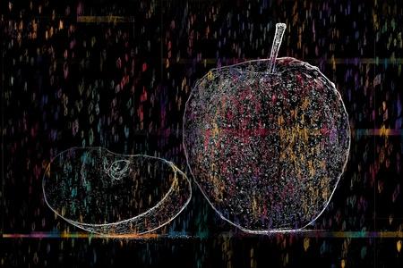 photoshop: apple made in photoshop on blak background Stock Photo