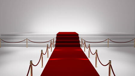 red backgrounds: red capet with white stage