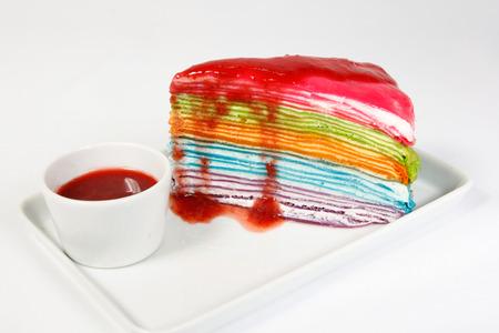 rainbow crape cake with strawberry source photo