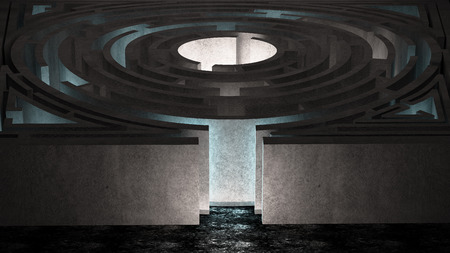 concrete maze room with light photo