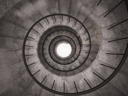 Top view of a spiral staircase.