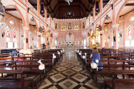 christian altar: Saint Mary or the Blessed Virgin Mary, the mother of Jesus, in front of the Roman Catholic Diocese or Cathedral of the Immaculate Conception, Chanthaburi, Thailand. Editorial