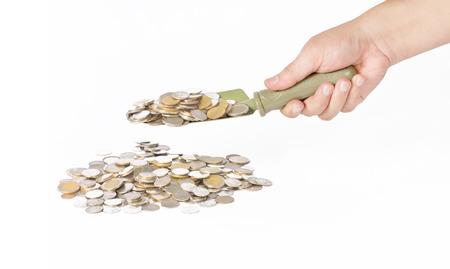 Asimiento de la mano llana scoop acu�ar moneda