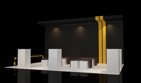 modern booth exhibition design with blank banner 免版税图像