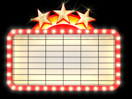 movie sign: Empty Marquee banner with light background