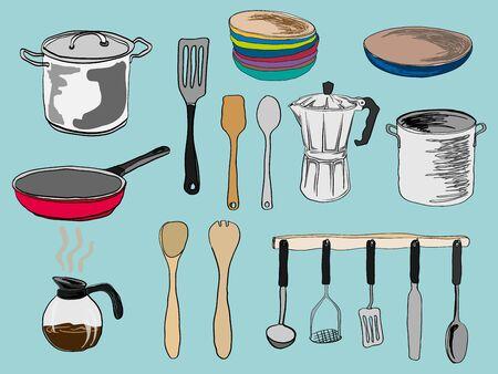 kitchen utensil: vector set drawing kitchen utensil Illustration