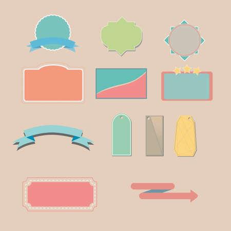 vector conjunto de dise�o de etiquetas y cinta