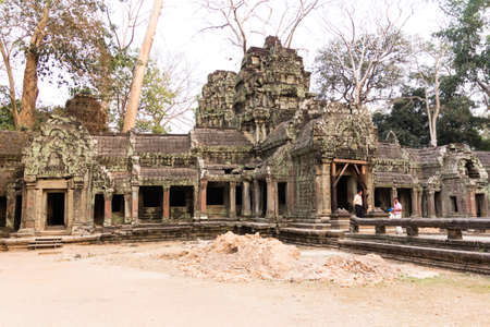 SIAM REAP, CAMBODIA - February 7,2015:Ancient Khmer architecture. Ta Prohm temple with giant banyan tree at Angkor Wat Siem Reap, Cambodia.