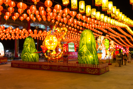 samutprakarn: Samutprakarn,Thailand - March 1,2015 : Chinese Lantern Festival,Tourism Authority of Thailand (TAT) Bangkok Office to import lanterns from Taiwan, these lanterns are formed in the shape of Gods and fancy lovely cartoons to attract the tourists including