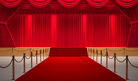 theater room with red carpet Foto de archivo