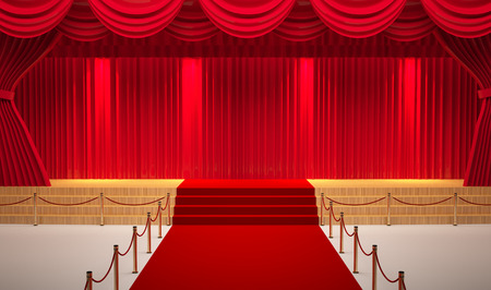 theater room with red carpet 免版税图像