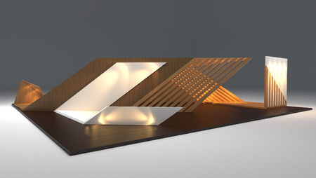 modern booth exhibition design, 3d render