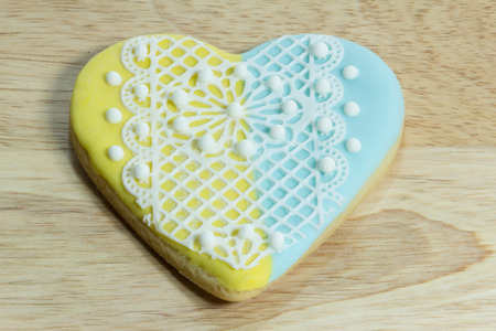 icing: Fancy lovely heartcookies with royal icing Stock Photo