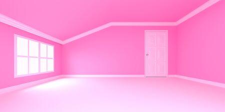 fondo habitaci�n rosa con puerta y ventana