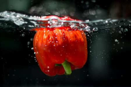drop in: bell pepper drop in the water