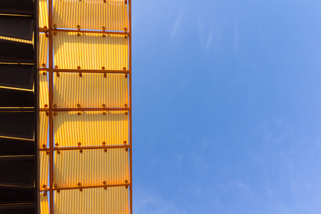 buliding: Buliding roof with blue sky