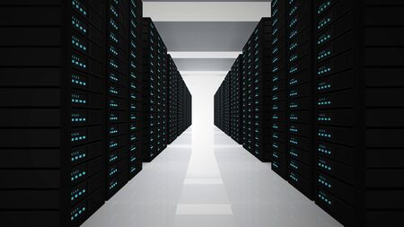 server room: tower of servers in room Stock Photo