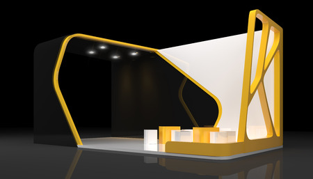 exhibition stand: booth exhibition design, 3d render
