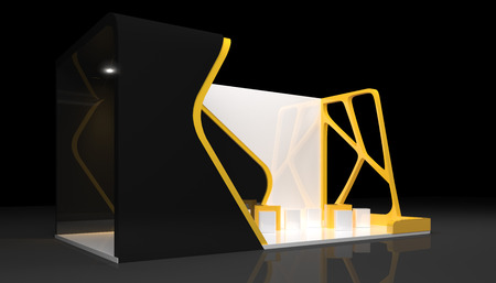 business exhibition: booth exhibition design, 3d render