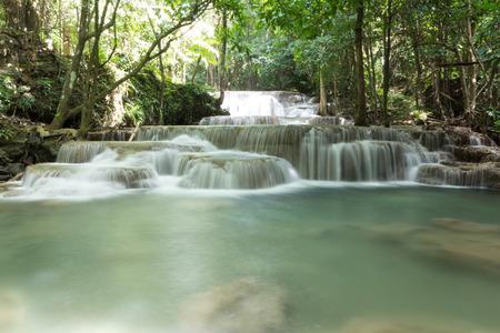 khamin: Waterfall at Huay Mae Khamin Nation Park Kanchanaburi Thailand Stock Photo