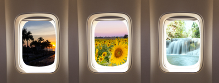airplane window: three airplane window concept to travel nature background Stock Photo
