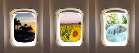 plane window: three airplane window concept to travel nature background Stock Photo