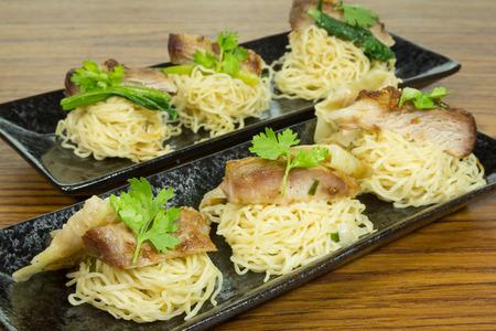 Noodle pork grill witn dumpling
