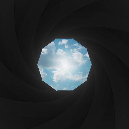 shutter aperture: Camera shutter aperture with sky Stock Photo