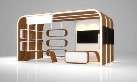 空白のモダンなブース展示デザイン