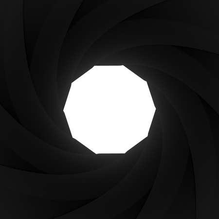 shutter aperture: Camera shutter aperture on white background