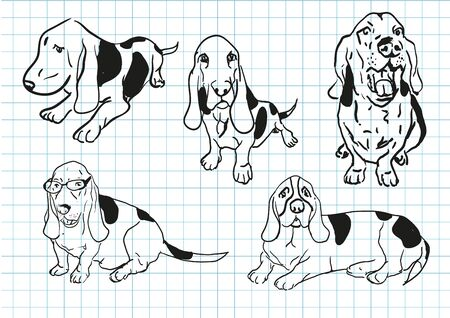 labrador doodle: vector dog cartoon hand drawing outline