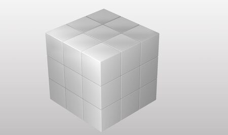 cubic: white cubic puzzle on gradient background Stock Photo
