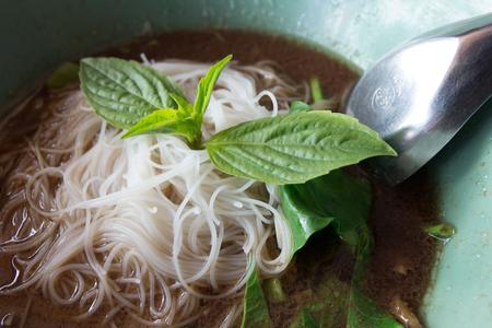 Beef noodle with black soup Foto de archivo