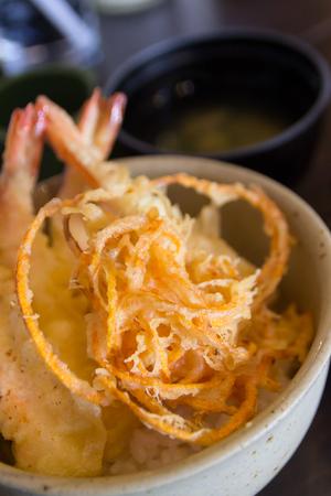 Japanese food style mix tempura with rice