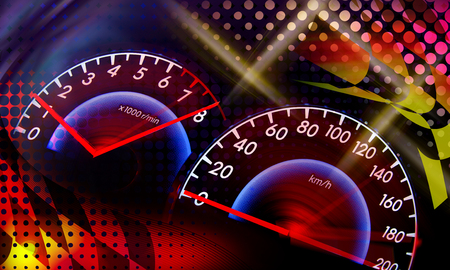pursuit: abstract speed racing background with speedometer