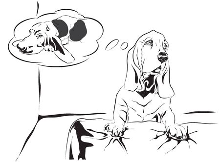 bassethound want go to sleep on bed vector outline