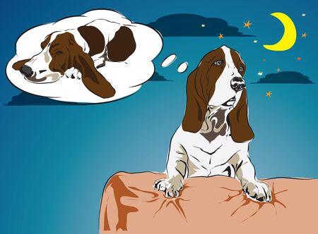 bassethound want go to sleep on bed vector