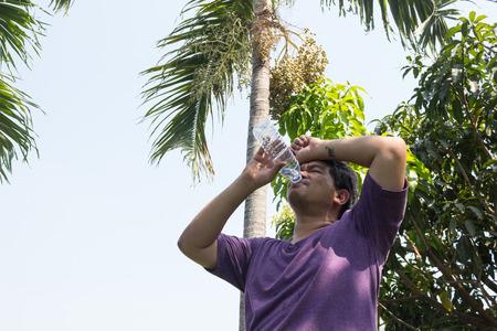 sunstroke: A man are heat stroke on the sun Stock Photo