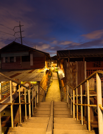 canal house: Ladkrabang, Thailand - August 27,2016:simple lifestyle of people at Ladkrabang canal house in the evening.Right now Bangkok have only few place that still theres old lifestyle of canal house and wood house