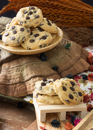 Chocolate Chip Cookies on the wooden plate set