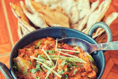 indian food  curry, nan , Sauce on the table Stock Photo