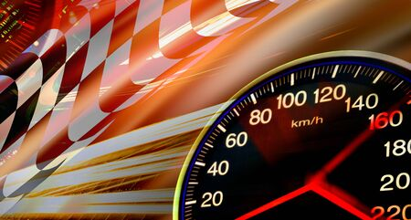 racing: abstract speed racing background with speedometer